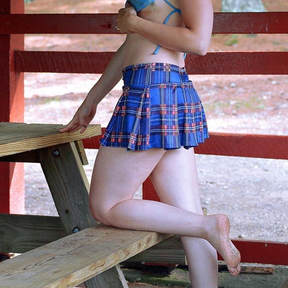 5e96591897 Be Wicked Dresses & Skirts - Blue/red plaid pleated mini school girl skirt